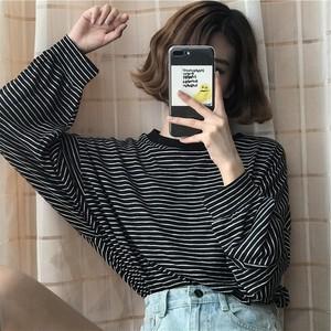 【トップス】長袖ファッションストライプ柄カジュアルプルオーバーTシャツ14982904