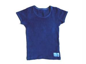 ◆100%自然素材 天然灰汁発酵建て 本藍染◆ オーガニックコットン♡キッズ半袖Tシャツ