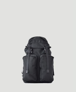 LORINZA Ballistic Nylon Double Pocket Backpack Black