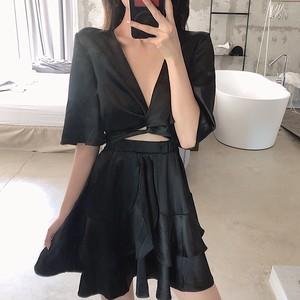 【ワンピース】ファッション気質良いVネックショートワンピース
