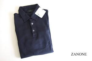 【Sold Out】ザノーネ|ZANONE|ピマコットンロングスリーブポロシャツ|46|ネイビー