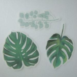 A07C ボタニカル フレークシール 60枚 植物 海外製 緑 サボテン 素材 ステッカー ジャンクジャーナル コラージュ