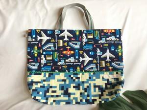 入園入学レッスンバッグ手提げ絵本袋リバーシブル54飛行機エアポートのお仕事