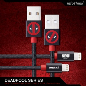 InfoThink USBケーブル MARVEL デッドプール2 iPhone/iPad Lightningケーブル 急速充電・同期ケーブル IT-ITappcable-100(DP)