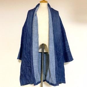 Hemp Mixed Denim Gown-ish Shirtcoat Indigo Dark