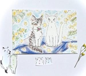 猫/ポストカード/ミュウとシガー/保護猫支援