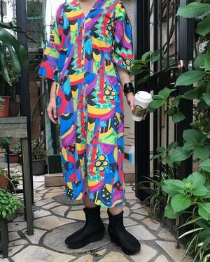 80s multi color cotton dress ( ヴィンテージ  マルチカラー コットン ワンピース )