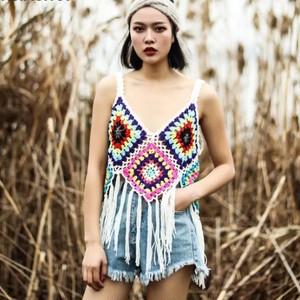 NEW かぎ針編み フリンジトップス キャミソール ホワイト ブラック