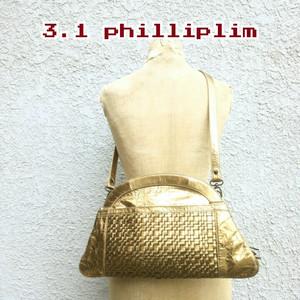 【レア】美品/スリーワン フィリップリム 3.1philliplim/レザー/ショルダーバッグ/ゴールド/