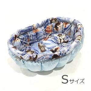ふーじこちゃんママ手作り ぽんぽんベッド (ライトブルー・デニム風猫柄)Sサイズ 【PB7-081S】