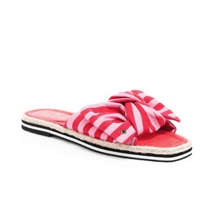 KATE SPADE NEW YORK Caliana Striped Canvas Bow Slides