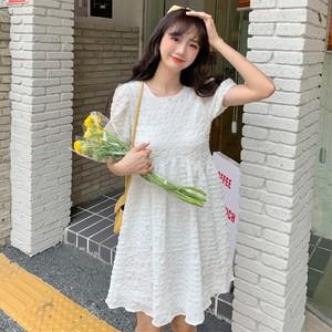 【ワンピース】韓国系半袖ラウンドネックAラインワンピース42957985