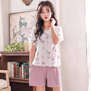 フラミンゴ&リーフパジャマ 半袖Tシャツ&ショートパンツ ルームウェア