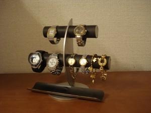 ブラック三日月6本掛け腕時計スタンドハーフパイプトレイ No.140522