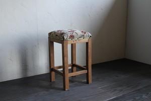花柄の角スツール 椅子 古家具