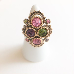 """Sarah Coventry"" Austrian Lites color rhinestone ring #14[r-146] ヴィンテージリング"