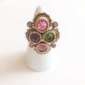 """Sarah Coventry"" Austrian Lites color rhinestone ring #14[r-146] ヴィンテージリング"