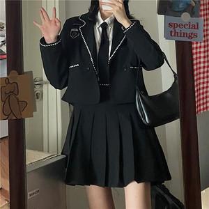 【2点セット】パイピングジャッケット+プリーツスカート ・13865