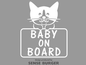 BABY ON BOARD ステッカー シール デカール 子供 ネコ 猫 白猫 子猫 赤ちゃん乗車中 BABY IN CAR カッティングシート 車に貼れる 白 ホワイト【sti06211whi】