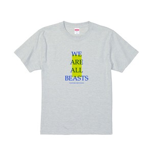 """We Are All Beasts"" T-Shirt / Light Gray × Blue × Neon Yellow"
