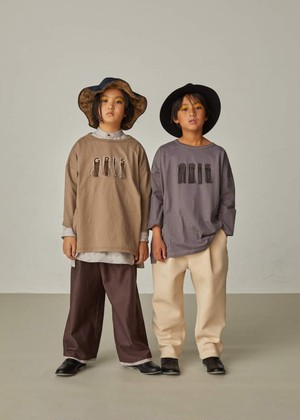 【21AW】GRIS ( グリ )Embroidery Three-quarter T Shirt[XS/S/M]Ash Brown 長袖Tシャツ