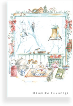 Post Card(冬のバードテーブル)