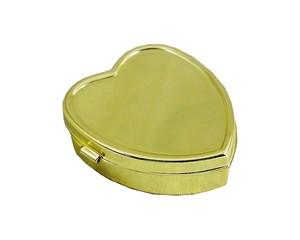 B級品3個セット 鏡無し 携帯ピルケース ハート型 ゴールド