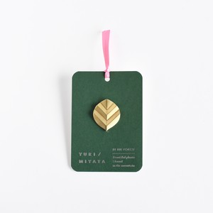 【Brooch】Leaf / Stripe L brass