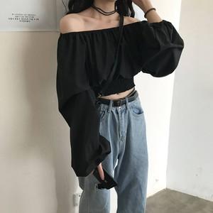【トップス】春服新作韓国風長袖ボートネックins人気シャツ