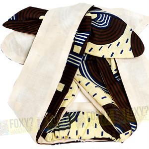 L02 【アフリカ布のヘアバンド/ターバン|ロングリボン】ワイヤー&ムスビ・リバーシブル