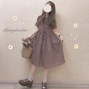 【ワンピース】チェック柄春夏カジュアルスウィート折り襟半袖ロングワンピース