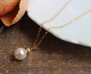 ゴールドボール&あこやバロック本真珠のネックレス(7~7.5mm)