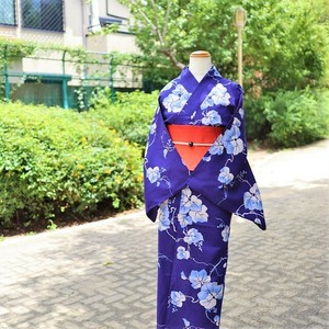 【浴衣 お仕立て上がり】綿麻  / 藍紺色 / 葡萄