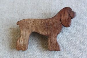 木製アメリカンコッカースパニエルブローチ