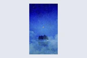 夜の湖に浮かぶ、月と森を描いた、画像データ