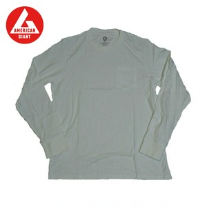 AMERICAN GIANT Heavyweight Longsleeve Pocket T-Shirt WHITE