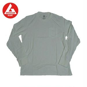AMERICAN GIANT Heavyweight Longsleeve Pocket T-Shirt WHITE