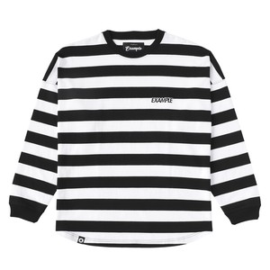 THICK STRIPE LETTER L/S TEE / WHITE×BLACK