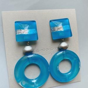 """"""" Earrings NO.danoan-156″ ブルーペイントと涼しげパーツ"""