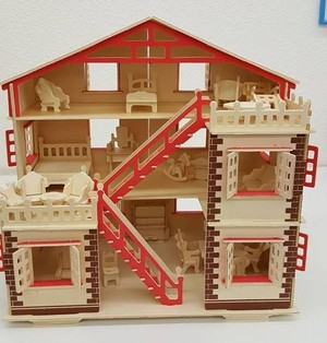 【送料無料】3D立体 木製パズル!家具付き木製ハウス⑤
