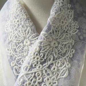 刺繍半衿・グラマラスレース・オーガンジー(紫のレース柄布とセット)