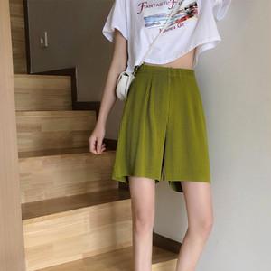 ショートリブパンツ | 短パン リブ ハーフパンツ ゆったり 韓国服 ゴムウエスト