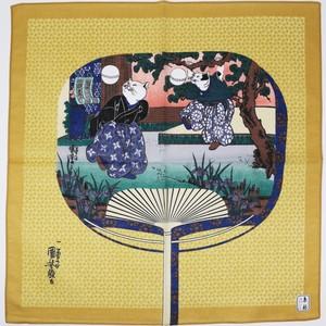 猫ハンカチ(歌川国芳の流行猫の曲鞠団扇)カラシ