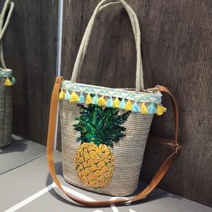 パイナップル かごバッグ トートバッグ スパンコール  タッセル ショルダーバッグ