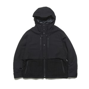 WINDSTOPPER STRECH TWILL×ZIGZAG JACQUARD MOUNTAIN PARKA - BLACK