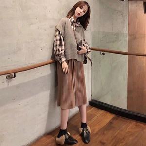 【set】ファッションチェック柄ベストスカート三点セット15939403