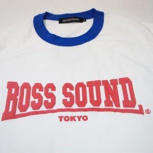 BOSS SOUND TOKYO リンガーTシャツ WHITE × SAX BLUE