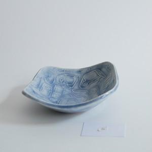つぐみ製陶所 レリーフ角鉢 インコ ライラックA