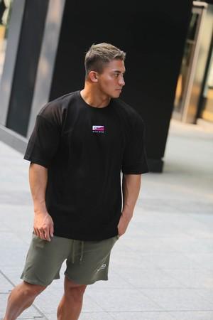XENO SLASH LOGO OVER SIZED T-SHIRT BLACK