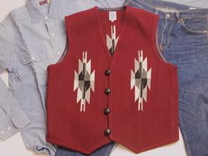【限定生産ビッグサイズ&カラー】 Ortega's オルテガ 手織りチマヨベスト 83RG-4629 サイズ46 ワインレッド(前後反転の配色)